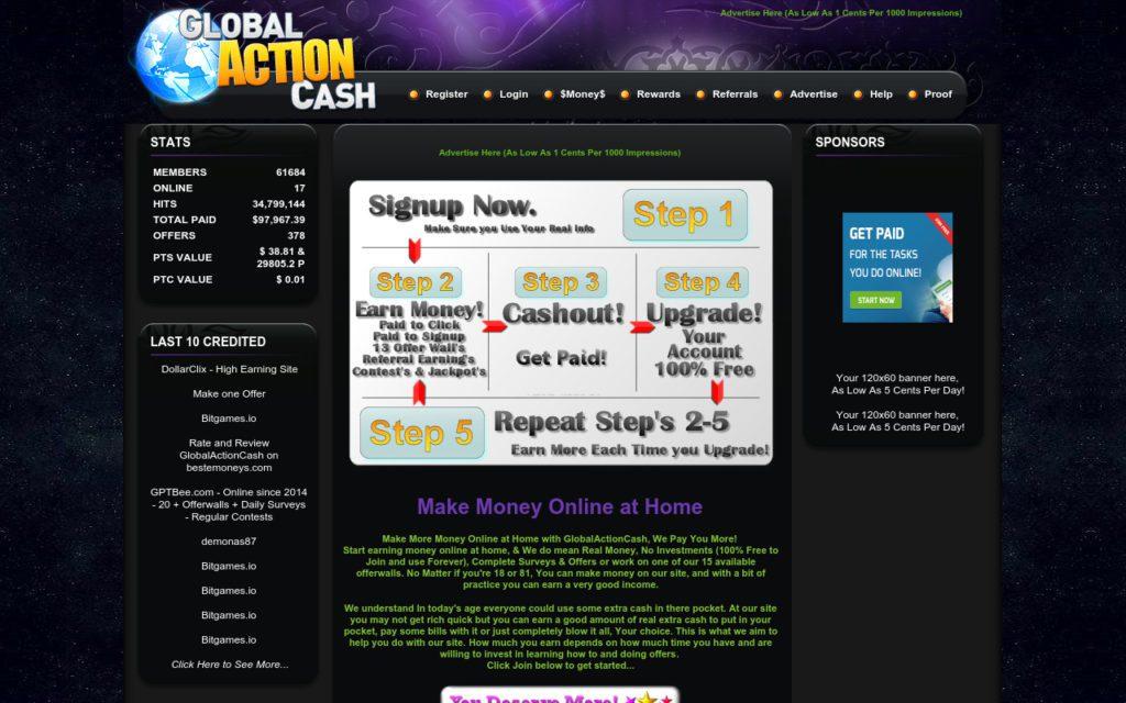 сайт для заробітку в інтернеті Globalactioncash.com