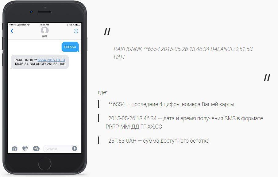 Перевірити баланс карти через смс Приват Банк