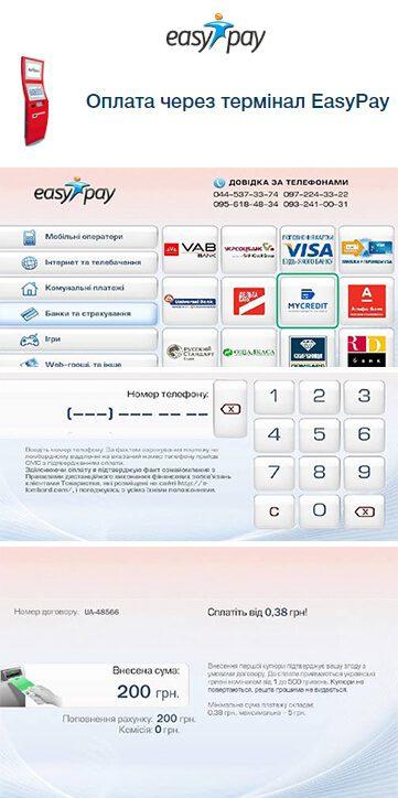 Оплата кредиту від Манівео через термінал-1
